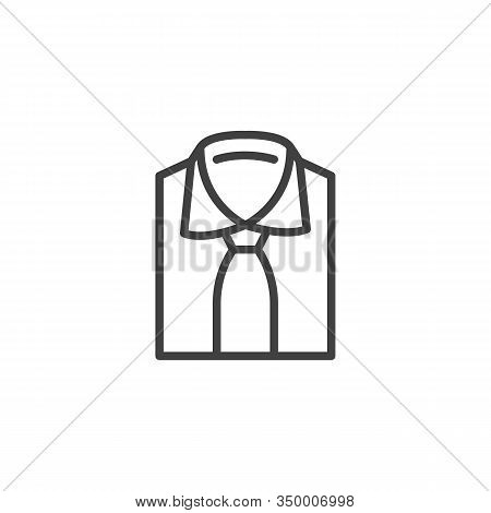 Folded Shirt With Tie Line Icon. Linear Style Sign For Mobile Concept And Web Design. Mens Shirt Wit