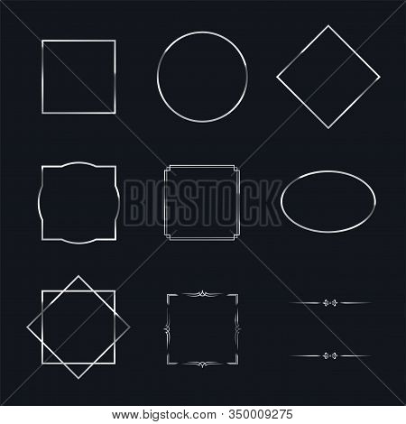 Silver Shiny Frames With Shadows Isolated On Black Background. Vector Chrome Luxury Realistic Border