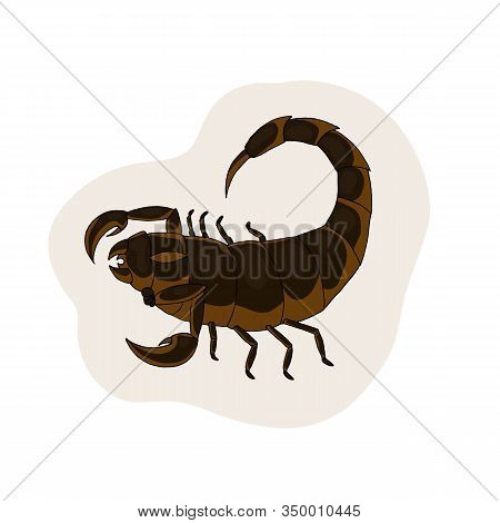 Brown Scorpion. Vector Illustration. White Background. Scorpio Zodiac Sign.