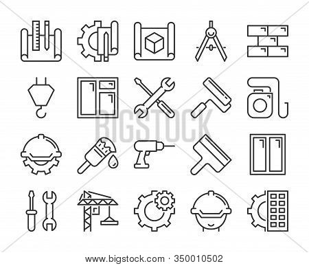 Construction Icons. Construction And Home Repair Line Icon Set. Vector Illustration. Editable Stroke