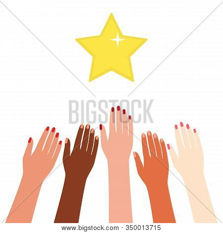 Multicultural Hands Reach Rewards, Reach For The Stars. Motivation, Aspiration, Goal, Competition, A
