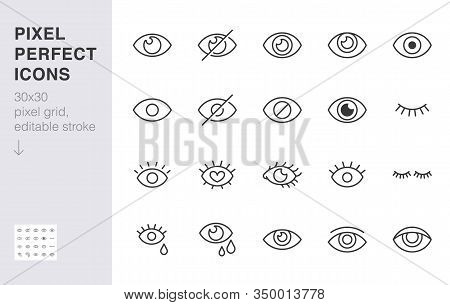 Eye Line Icon Set. Open, Closed Eyes, Visible Invisible Concept, Hidden Password, View Minimal Vecto
