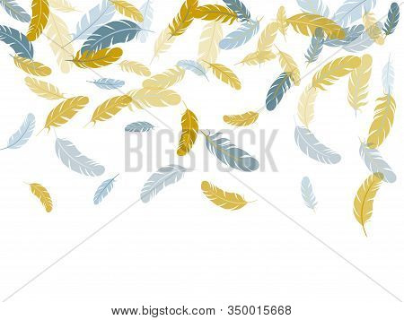 Cute Silver Gold Feathers Vector Background. Soft Plumelet Native Indian Ornament. Fluffy Twirled Fe