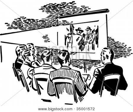 Men Watching Movie - Retro Clipart Illustration