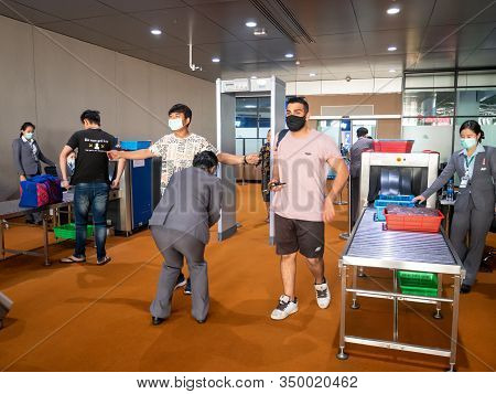 Pattaya, Thailand - February 1, 2020: Tourist And Staff Wear Mask To Prevent During Travel At U-tapa