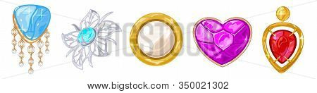 Vector Realistic Set With Elegant Golden, Silver, Platinum Brooches, Charms, Pendants With Different