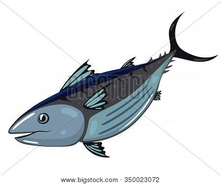 Tuna Fish Isolated On White Background. Vector Image.