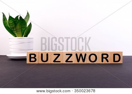 Buzzword Word Made With Building Blocks On A Light Background