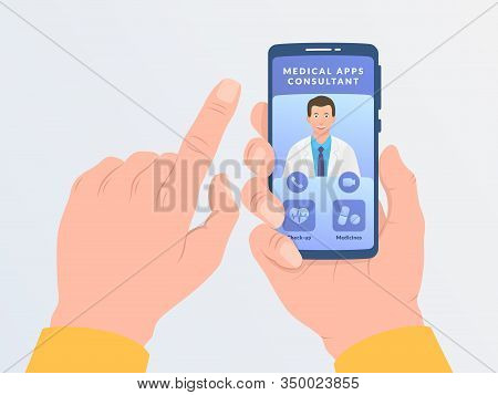 Online Medical Consultations With Doctor Concept With Hand Hold Smartphone Modern Flat Style Vector