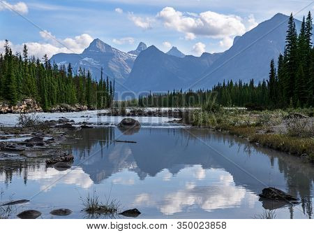 Panoramic Image Of The Athabasca River, Jasper National Park, Rocky Mountains, Alberta, Canada