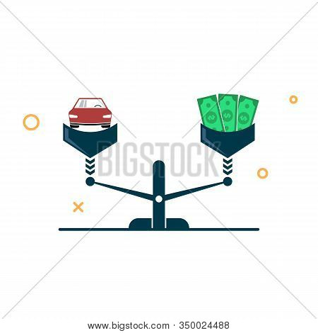 Car And Money On The Scales. Car Equity And Finance Concept. Vector Illustration