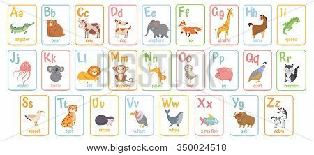 Alphabet Cards For Kids. Educational Preschool Learning Abc Card With Animal And Letter Cartoon Vect