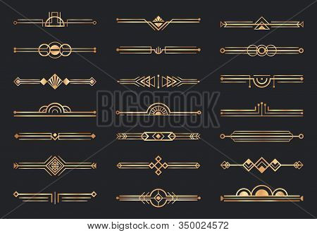 Golden Art Deco Dividers. Decorative Geometric Border, Retro Gold Dividers And Luxury 1920s Decorati
