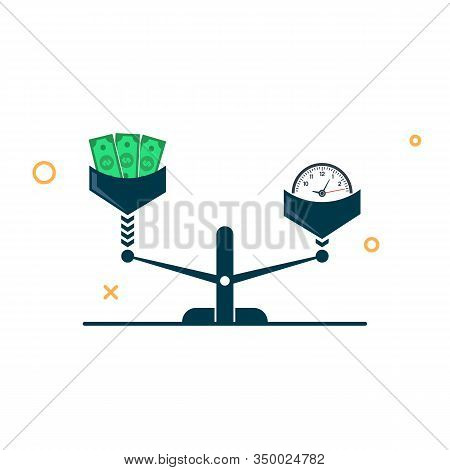 Time And Money On Scales Icon. Time Is Money. Money And Time Balance On Scale. Vector Illustration I