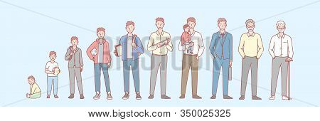 Mans Life Cycle Set Concept. Illustration Of Man In Different Age From Newborn To Oldster. Stage Of
