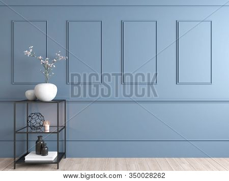 Interior Empty Space Of Pale Blue Wall, Shelf With Decoration Props And Plant . 3d Render