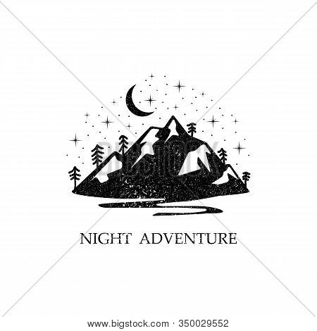 Night Adventure In The Mountains, Beauty Mountain Logo Designs, Rustic Logo Vector Illustration