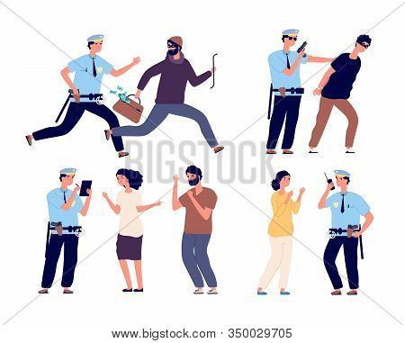 Police Officers At Work. Cop Patrol Catching Up Thief, Policeman Arrest Criminal Character, Law Job,
