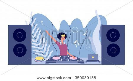Dj Set. Disco Party, Woman Plays Nightclub. Stereo Sound Mixer And Turntable, Girl With Headphones.
