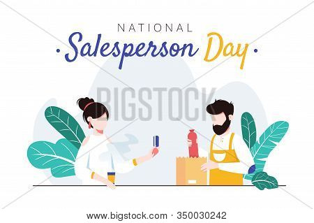National Salesperson Day Horizontal Banner Template. Man Packing Sausage Into Bag For Female Custome