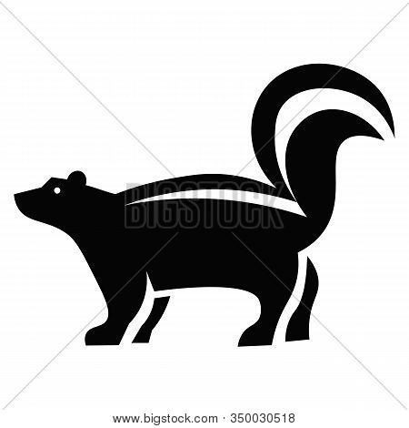 This Vector Image Shows A Skunk Icon In Glyph Style. It Is Isolated On A White Background.