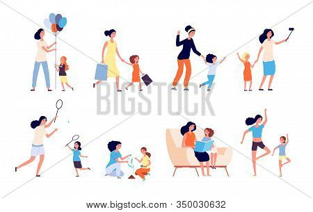Mother And Daughter. Happy Mom Spend Time With Kid. Woman And Girl Play, Read And Games Sport, Doing