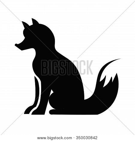 This Vector Image Shows A Fox Icon In Glyph Style. It Is Isolated On A White Background.