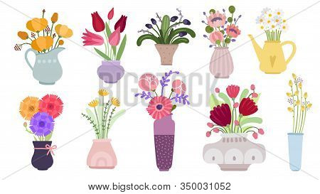 Bouquets. Garden Flowers Bunch, Blooming Summer Botanical Herbs. Herbaceous Plants In Pots, Pitchers