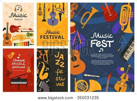 Music Festival. Jazz Concert, Musical Instruments Poster Design. Guitar And Piano, Saxophone Backgro