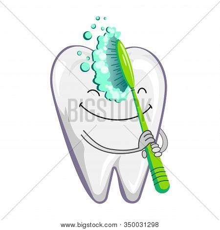 Cute Happy Smiling Tooth With Toothbrush And Toothpaste. Brushing Clean Teeth. Dental Kids Care. Vec