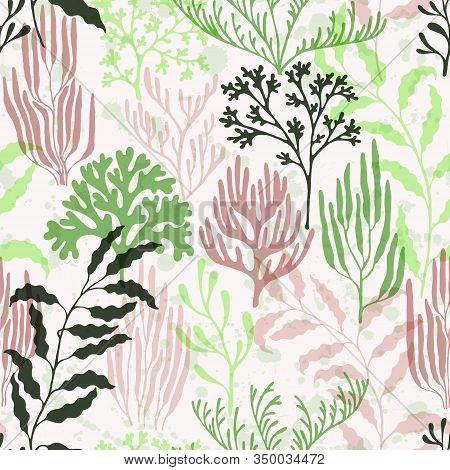 Coral Polyps Seamless Pattern. Kelp Laminaria Seaweed Algae Background. Undersea Reef Flora Pattern.