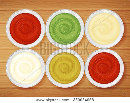 Set Of Sauces On Wood Background. Cartoon Style. Vector Illustration. Object For Packaging, Advertis