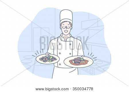 Restaurant, Cooking, Dish, Presentation Concept, Young Man Chef Is Standing In Restaurant Kitchen, H