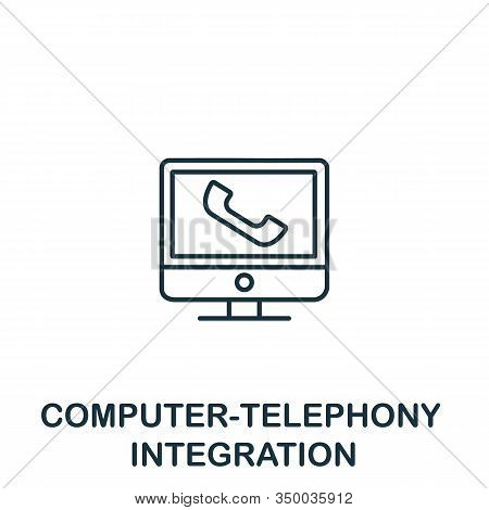 Computer-telephony Integration Icon From Customer Service Collection. Simple Line Element Computer-t