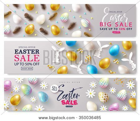 Set Of Cards Easter Sale. Backgrounds With Eggs, Feathers, Golden Serpentine And Chamomiles.can Be U