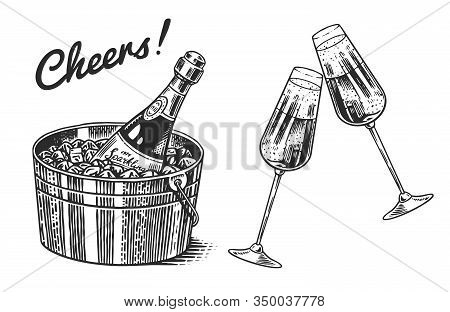 Cheers Toast. Clink Glasses Of Champagne Or Sparkling Wine In Hand. Celebration Concept. Grape Alcoh