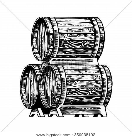 Wooden Barrel With Alcohol. Vessel With Wine, Brandy Or Whiskey. Cask In Vintage Style. Hand Drawn E