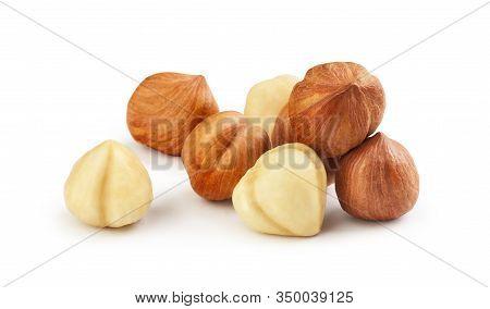 Hazelnut Scattered Isolated On A White Background