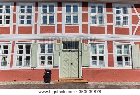 Boizenburg, Germany - April 16, 2019: Front Door Of An Old Half Timbered House In Boizenburg, German