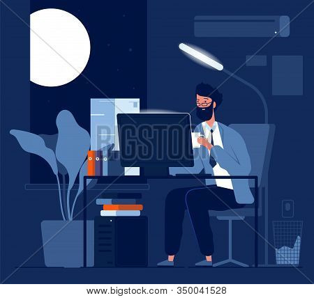 Person Late Work. Business Character Night Working In Office Sitting With Computer And Piles Of Pape