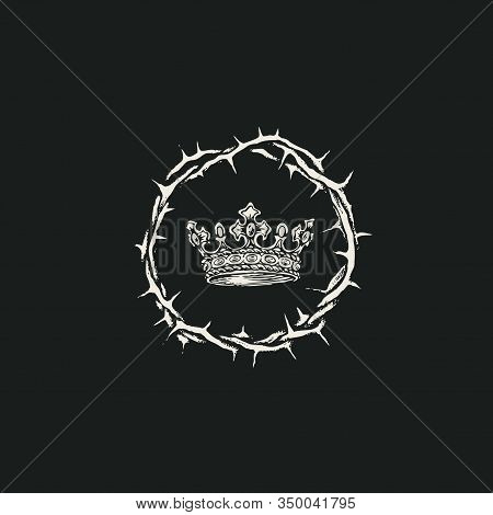Vector Banner On The Theme Of Easter With A Crown Of Thorns And A Crown On The Black Background. Bla