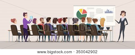 Business Trainer. Female Teacher In Conference Hall Strategy Charts Mba Meeting People Vector. Busin