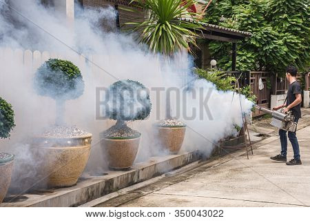 People Fogging Ddt Spray For Mosquito Kill And Protect By Control Mosquito Is A Carrier Of Malaria,