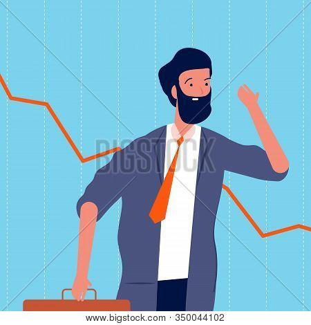 Sad Businessman. Bankrupt, Shares Decline. Upset Broker, Negative Financial Schedule Or Fault Sales
