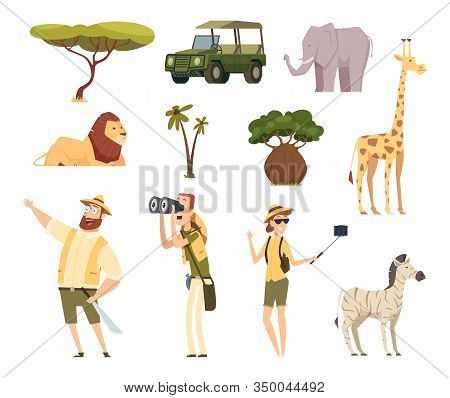 African Safari. Wildlife Animals Travel Car Kenya Jungle Characters Vector Cartoon Set. Jungle Afric