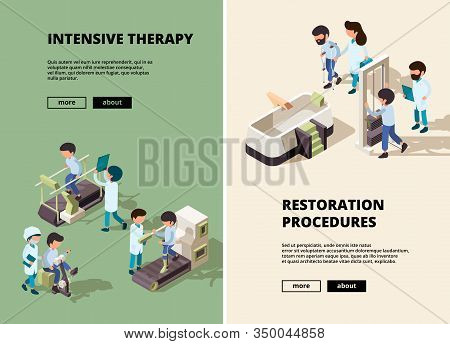People Rehabilitation. Doctor Care To Disabled Person Assistant Show Different Exercises Vector Vert