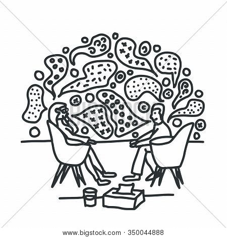 Psychotherapy Counselling Talk Ideas Doodle Vector Illustration