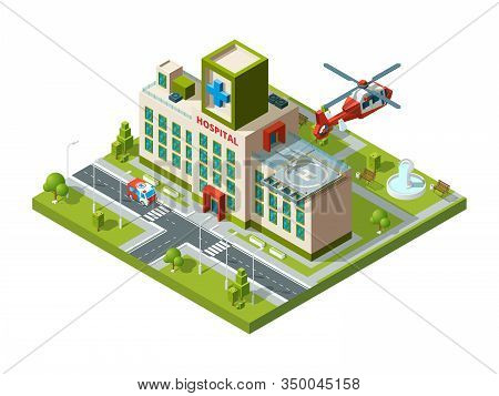Ambulance Building. Emergency Transport Helicopter On Hospital Roof Helipad Vector Healthcare Isomet