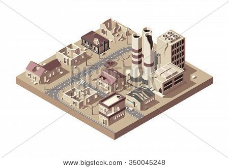 City Ruins. Abandoned Town With Broken Buildings Manufacturing City Decay Vandalized Objects Vector