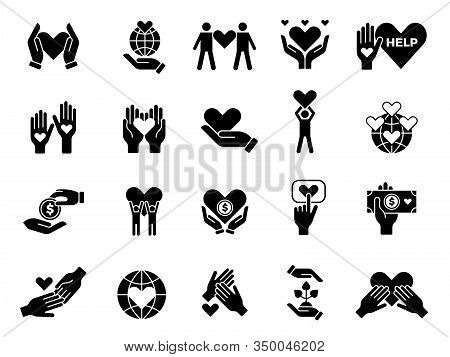 Philanthropy Set. Contribute Love Volunteers Goods Charities Hands With Hearts Vector Conceptual Sym